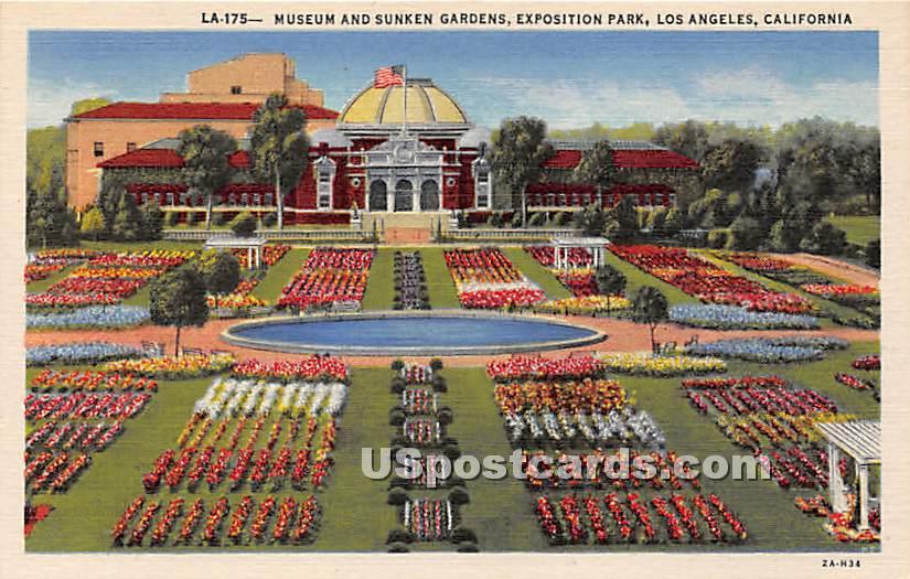 Museum & Sunken Gardens, Exposition Park - Los Angeles, California CA Postcard