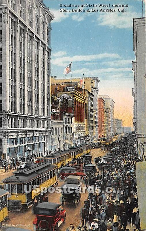 Broadway, Story Building - Los Angeles, California CA Postcard