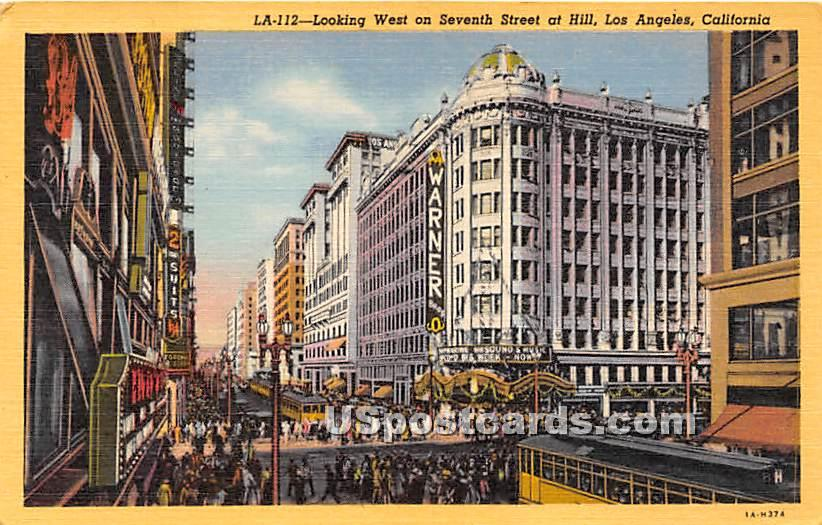 Seventh Street - Los Angeles, California CA Postcard