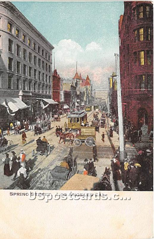 Spring Street - Los Angeles, California CA Postcard