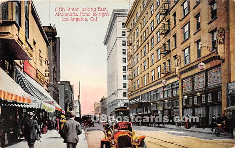 Fifth Street, Alexandria Hotel - Los Angeles, California CA Postcard