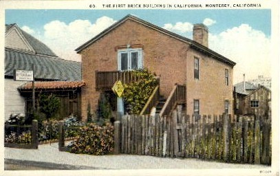 The First Brick Building - Monterey, California CA Postcard
