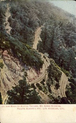 On the Road to Alpine Tavern - Mt. Lowe, California CA Postcard