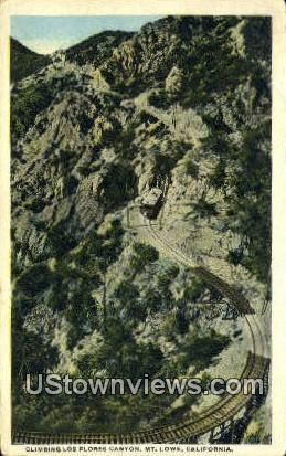 Los Flores Canyon - Mt. Lowe, California CA Postcard