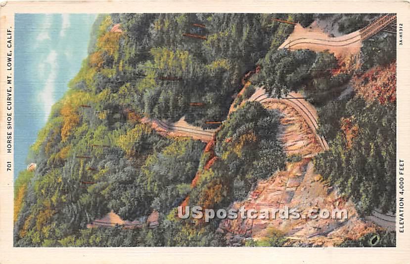 Horse Shoe Curve - Mt. Lowe, California CA Postcard