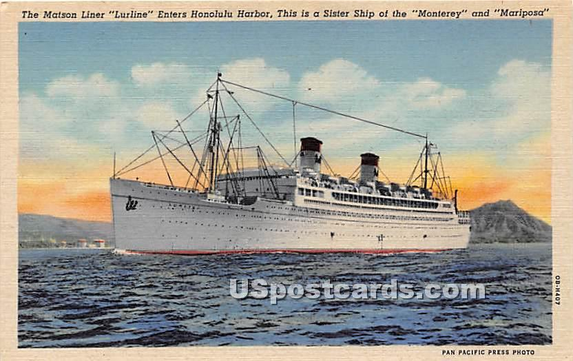 Matson Liner, Lurline - Monterey, California CA Postcard