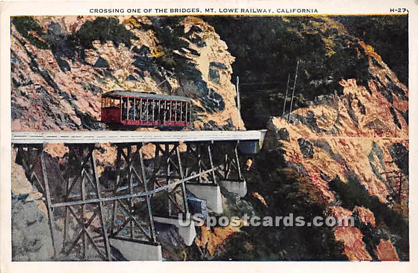 Bridge - Mt. Lowe, California CA Postcard
