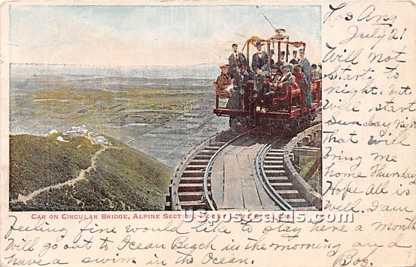 Car on Circular Bridge, Alpine Section - Mt. Lowe, California CA Postcard