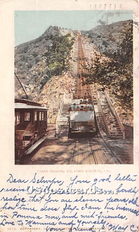 Cable Incline - Mt. Lowe, California CA Postcard