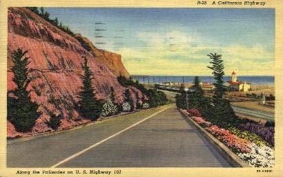 Along the Palisades - MIsc, California CA Postcard
