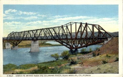 The Cantilever Bridge - Needles, California CA Postcard