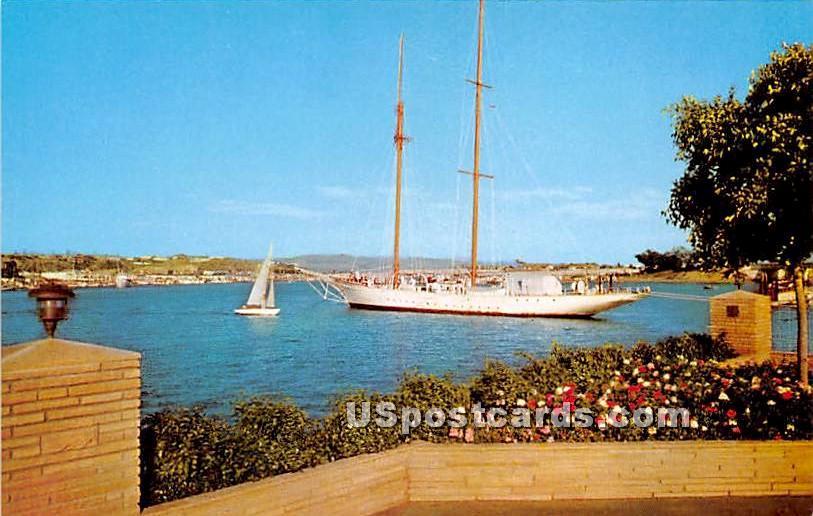 Luxurious Yacht & Anchor - Newport Harbor, California CA Postcard