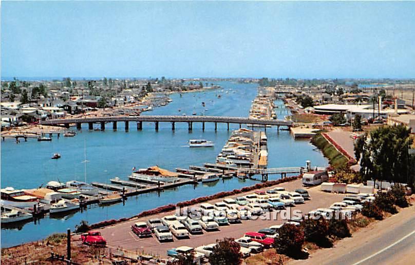 Yacht Basin & Balboa Island - Newport Harbor, California CA Postcard