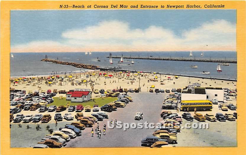 Corona Del Mar - Newport Harbor, California CA Postcard