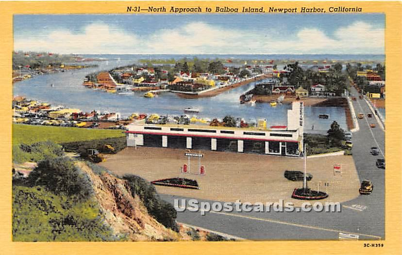 North Approach to Balboa Island - Newport Harbor, California CA Postcard