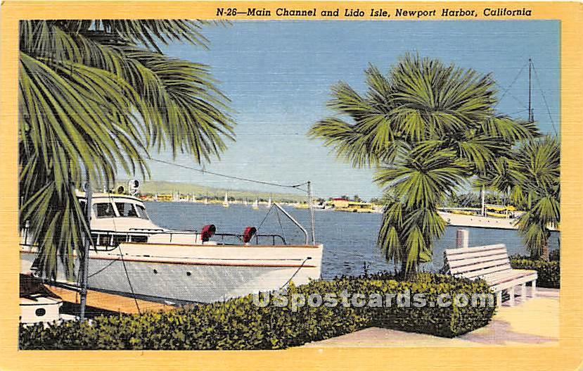 Main Channel, Lido Isle - Newport Harbor, California CA Postcard