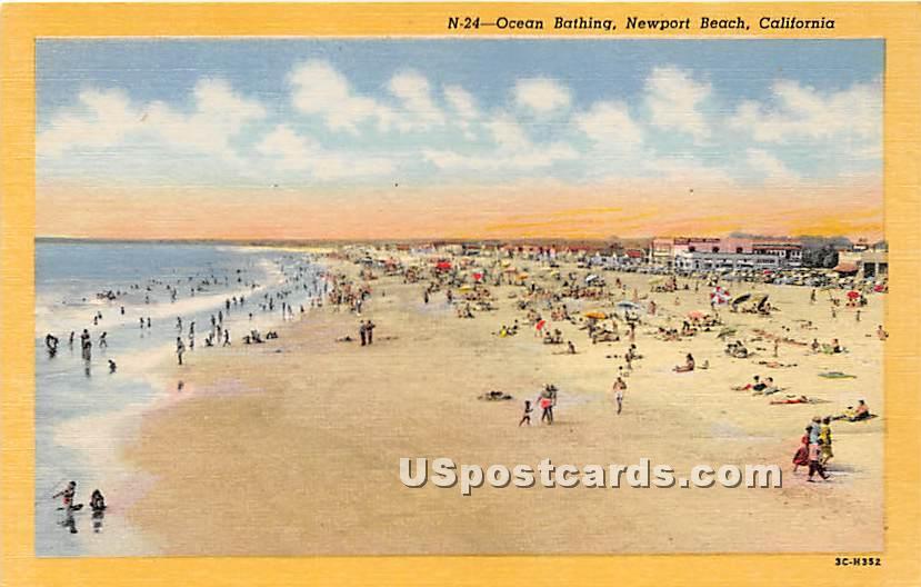 Ocean Bathing - Newport Harbor, California CA Postcard