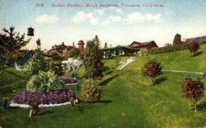 Sunken Gardens, Busch Residence - Pasadena, California CA Postcard