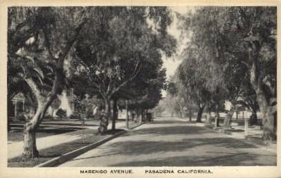Marengo Avenue - Pasadena, California CA Postcard