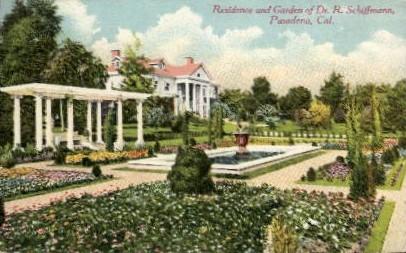 Residence and Garden of Dr. R. Schiffmann - Pasadena, California CA Postcard