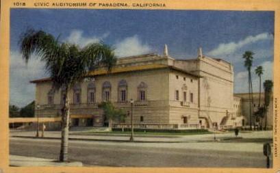 Civic Auditorium of Pasadena - California CA Postcard