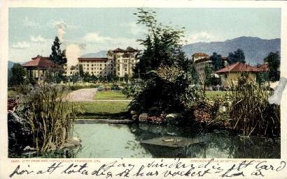 City Park and Hotel Green - Pasadena, California CA Postcard