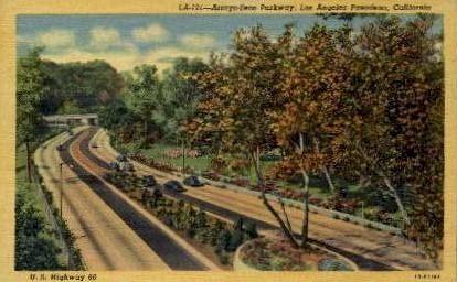 Arroyo-Seco Parkway - Pasadena, California CA Postcard