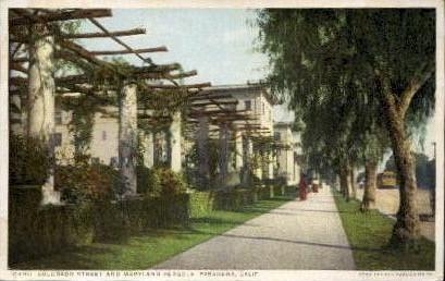 Colorado Street and Maryland Pergola - Pasadena, California CA Postcard