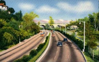 Pasadena Freeway - California CA Postcard