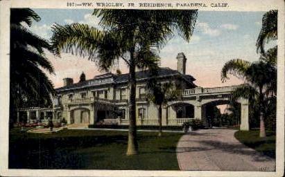 W'M Wrigley Jr. Residence - Pasadena, California CA Postcard