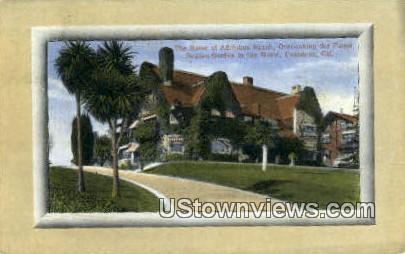 Adolphus Busch, Home - Pasadena, California CA Postcard