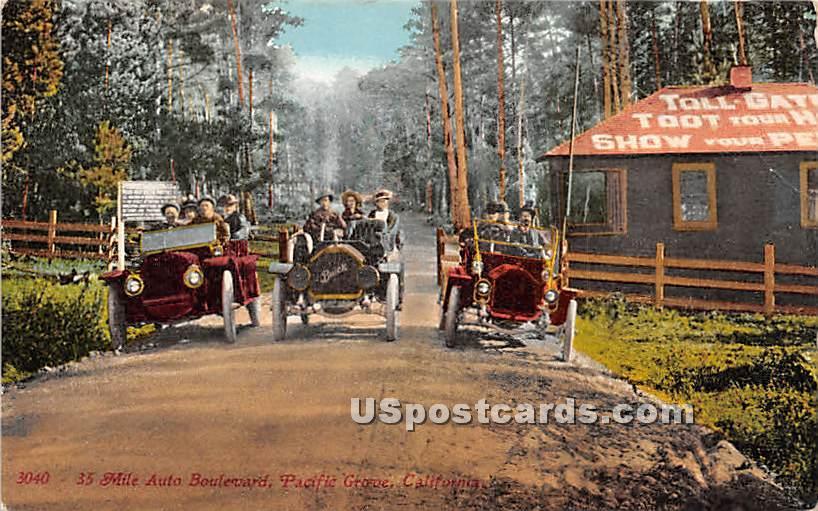 35 Mile Auto Boulevard - Pacific Grove, California CA Postcard