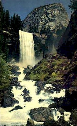 Vernal Fall - MIsc, California CA Postcard