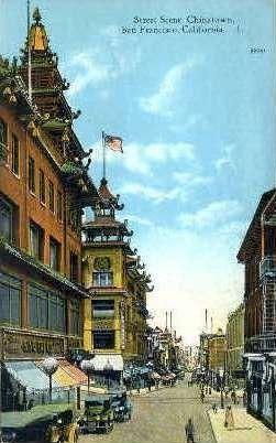 Street Scene, Chinatown - San Francisco, California CA Postcard