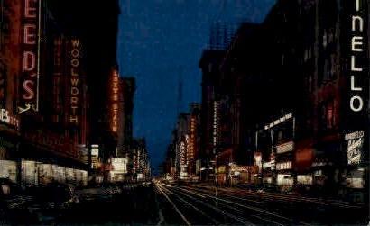 Broadway at Night - Los Angeles, California CA Postcard