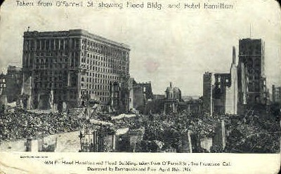 Hotel Hamilton and Flood Building - San Francisco, California CA Postcard