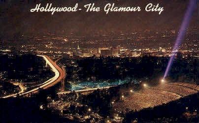 The Glamour City - Hollywood, California CA Postcard