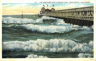 The Breakers and Pleasure Pier - Long Beach, California CA Postcard