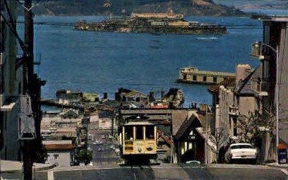 Cable Car on San Francisco Hill - California CA Postcard