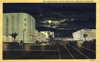 Radio Center, Sunset Boulevard - Hollywood, California CA Postcard