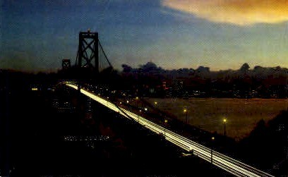 San Francisco Bay Bridge at Night - California CA Postcard