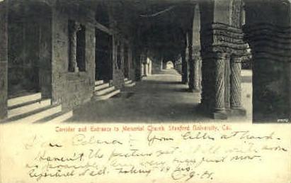 Corridor and Entrance to Memorial Church - Stanford, California CA Postcard