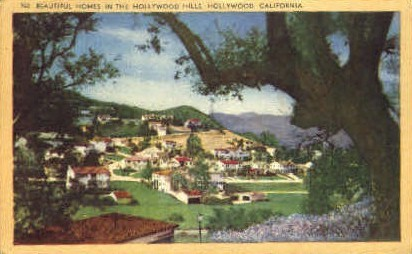 Homes in the Hollywood Hills - California CA Postcard