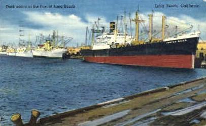 Dock, Port  - Long Beach, California CA Postcard