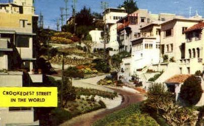 Crookedest Street in the World - San Francisco, California CA Postcard