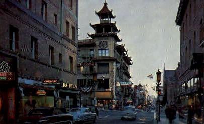 Chinatown at Night - San Francisco, California CA Postcard