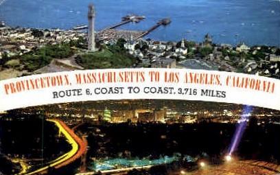 Route 6, Coast to Coast - Los Angeles, California CA Postcard
