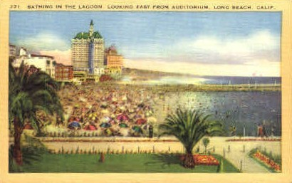 Bathing in the Lagoon - Long Beach, California CA Postcard