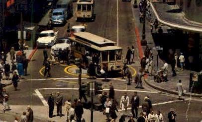 Powell & Market Streets - San Francisco, California CA Postcard