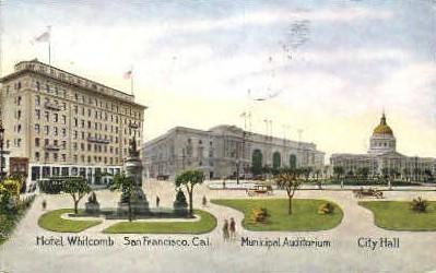 Hotel Whitcomb - San Francisco, California CA Postcard